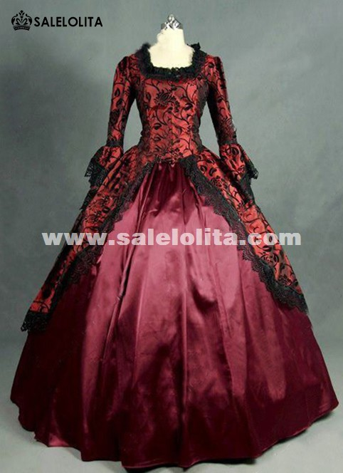 Red Floral Brocade Colonial Victorian Prom Ball Gown Dress Reenactment Theatrical Costume