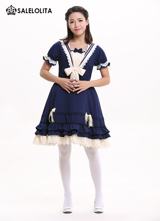 Summer Blue Cute Lovely School Princess Lolita Dress Girl & Women Sweet Kawaii Short Sleeve One-piece Navy Sailor Dress