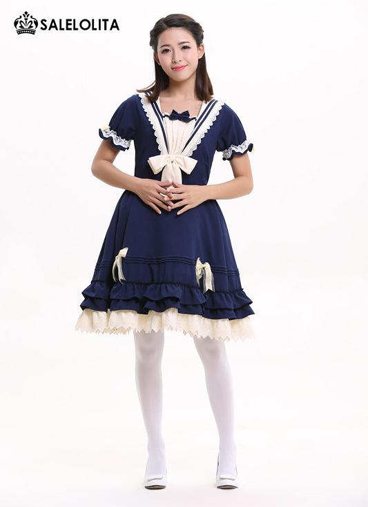 155d90498485 Summer Blue Cute Lovely School Princess Lolita Dress Girl   Women Sweet  Kawaii Short Sleeve ...