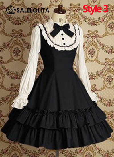 Wine Red/Black Cotton Lolita Casual Dresses For Ladies