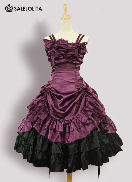 Sleeveless Short Strapless Purple Victorian Gothic Lolita