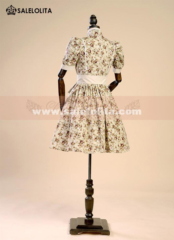 Classic Green Floral Puff Sleeve Cotton Lolita Dresses