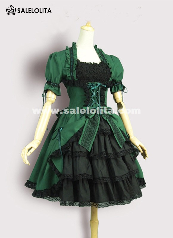 Hot Sale Classic Green Cotton Short Sleeve Lolita Dresses