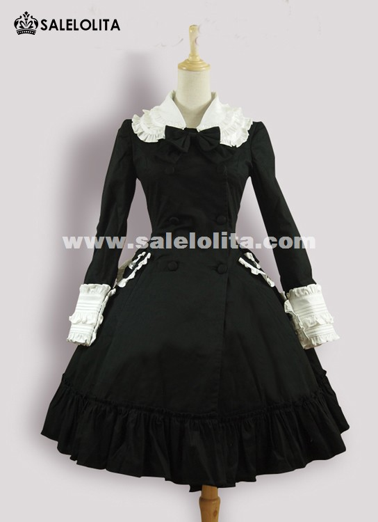 Classic Black Cotton Bow Long Sleeves Lolita Dresses