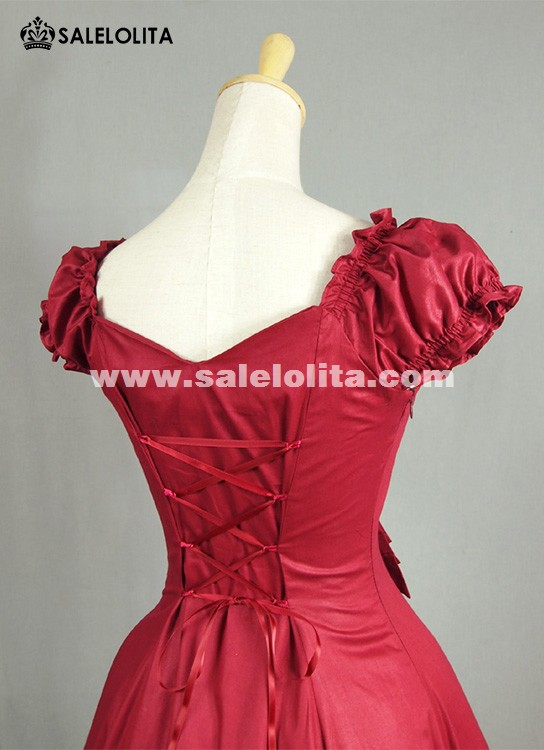 Wine Red Puff Sleeve Cotton Sweet Lolita Dresses