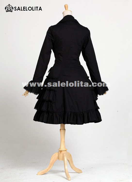 Classic Black Single breasted Cotton Long Sleeve Lolita Dresses