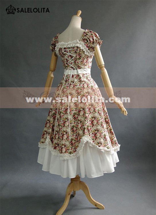 Classic Vintage Beige And Green Floral Puff Sleeve Lolita Dresses