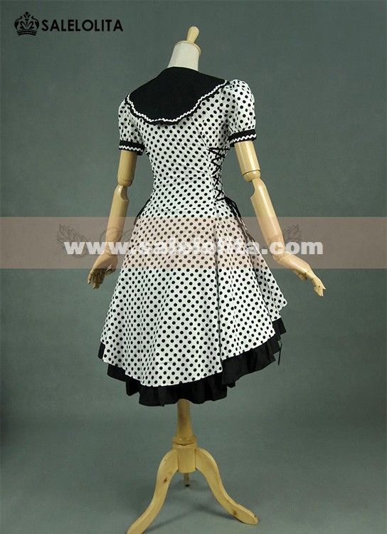 Lovely Black And White Dot Cotton Bow Lolita Dresses