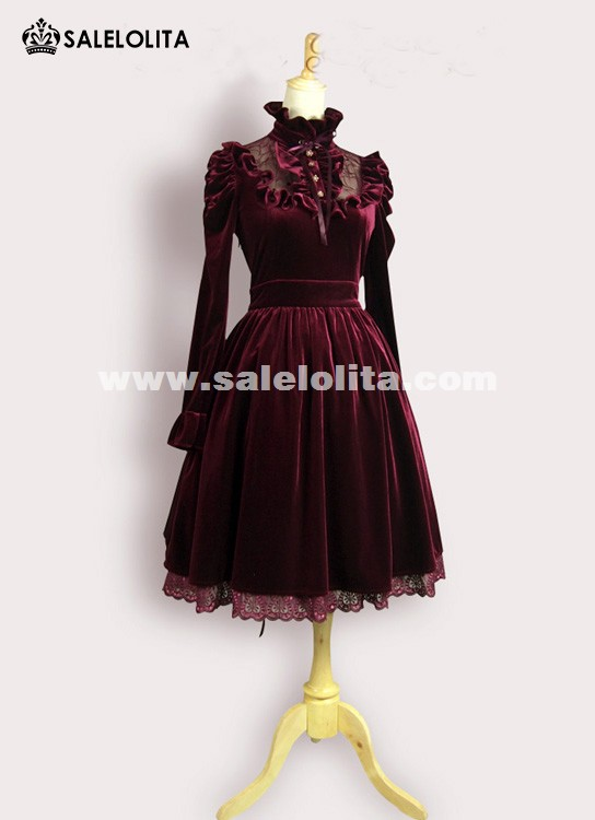 Vintage Wine Red Velvet Long Sleeve Lolita Dresses