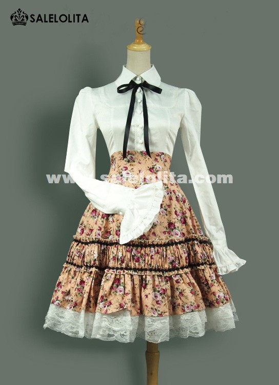 Classic Elegant Vintage Pink And Green Floral Two-piece Lolita Dresses