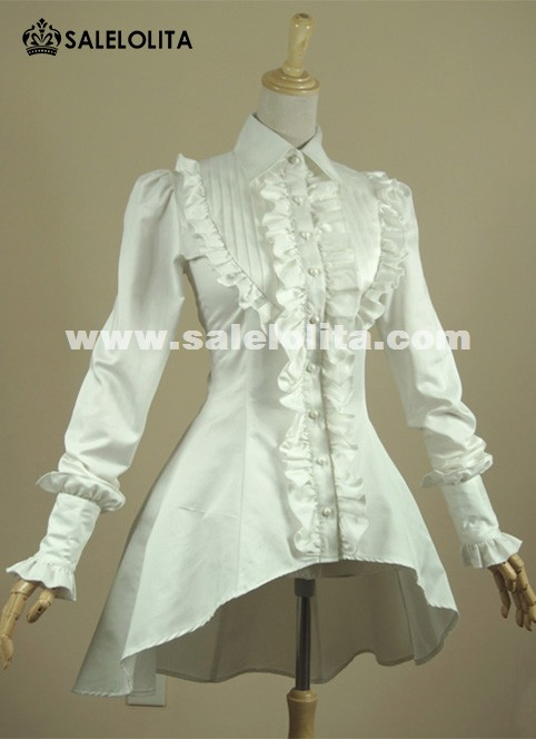 On Sale! Vintage White And Black Ruffles Lolita Blouse