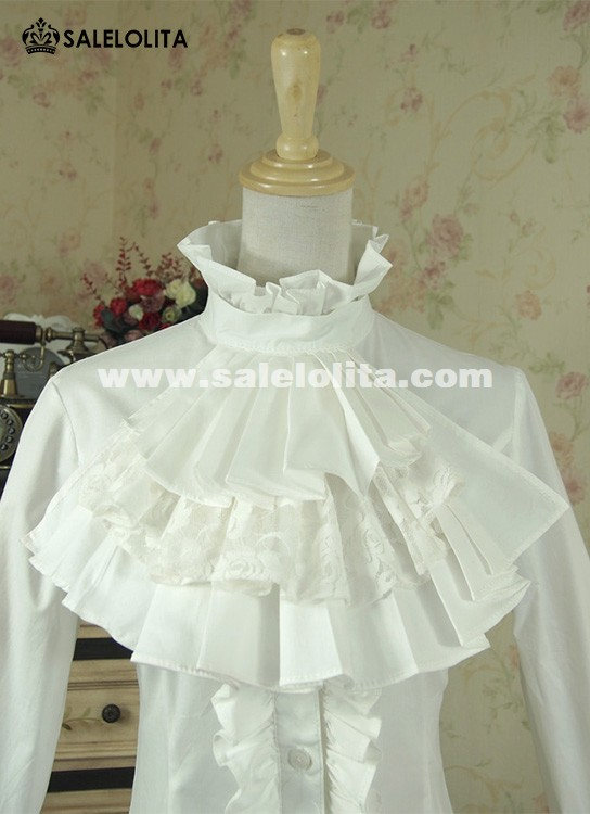 Women Vintage Victorian White And Black Ruffles Blouse
