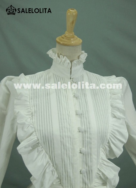 Black And White Cotton Long Lantern Sleeve Lolita Blouse