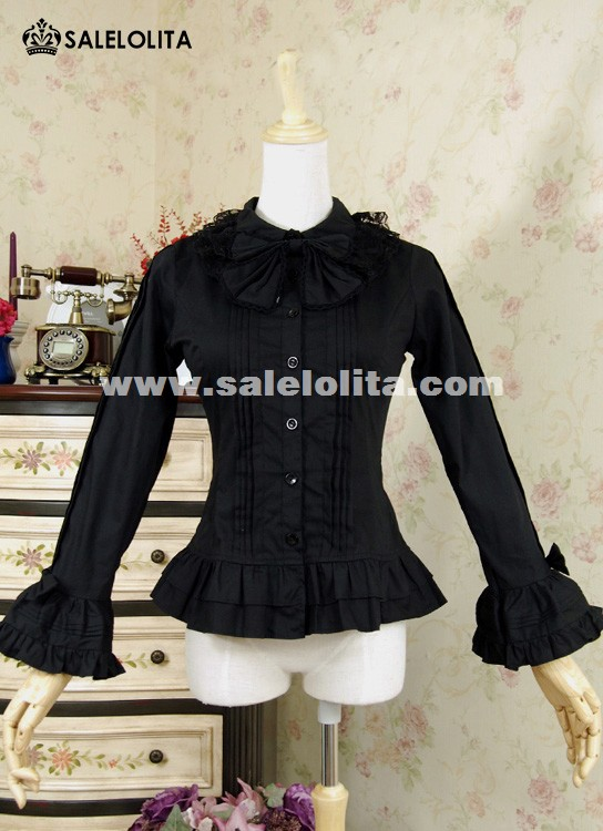 Black Cotton Long Sleeve Bow Lolita Blouse