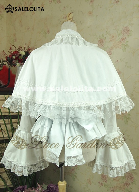 White Cotton Ruffles Little shawl Lolita Blouse For Ladies