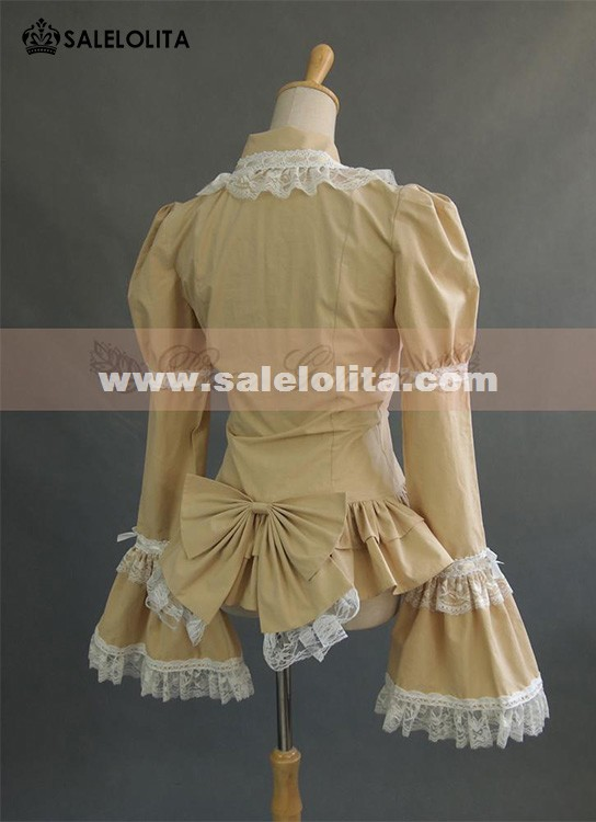 Hot Sale Beige Cotton Lolita Blouse For Women