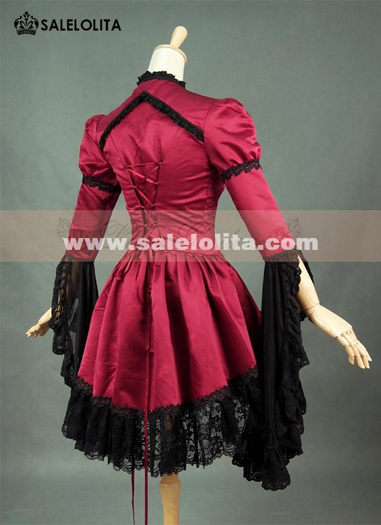 Women Black And Wine Red Lace Flare Sleeve Punk Gothic Victorian Blouse