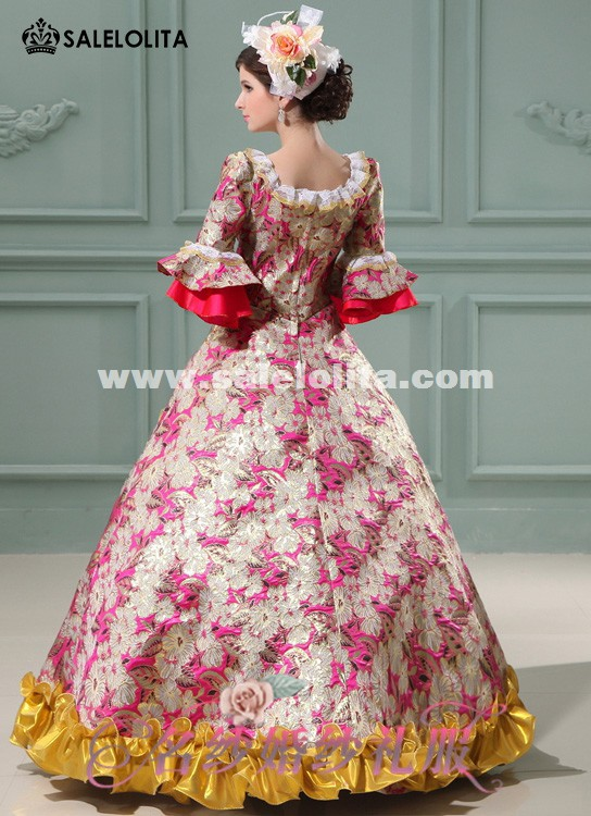Cheap Red/Purple/Blue Printed Marie Antoinette Dresses