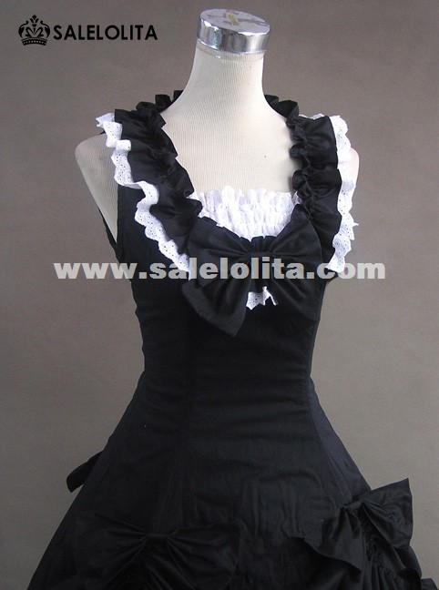 Hot Sale Black And White Medieval Renaissance Gothic Victorian Dress