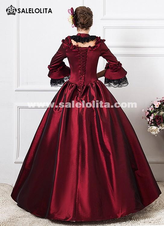 Wine Red 1800s Victorian Dance Dress Gothic Wedding Ball Gown