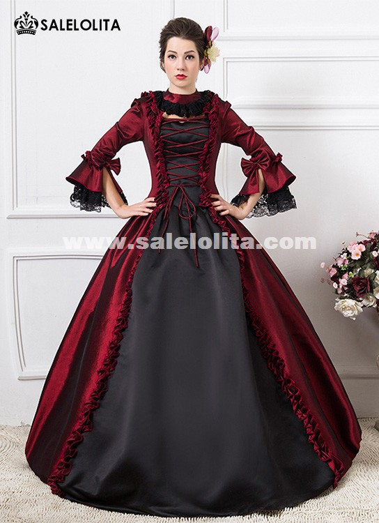 Wine Red 1800s Victorian Dance Dress Gothic Victorian Wedding Ball Gown