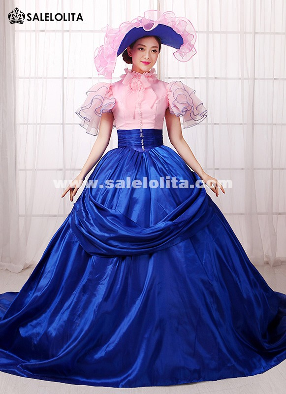 Noble Pink And Blue Marie Antoinette Rococo Event Party Dresses
