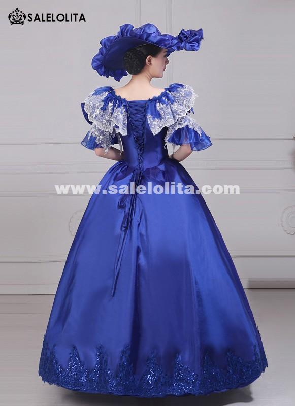 Women Elegance Blue Embroidery Marie Antoinette Rococo