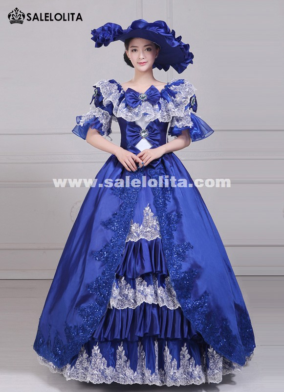 Women Elegance Blue Embroidery Marie Antoinette Rococo Party Dresses