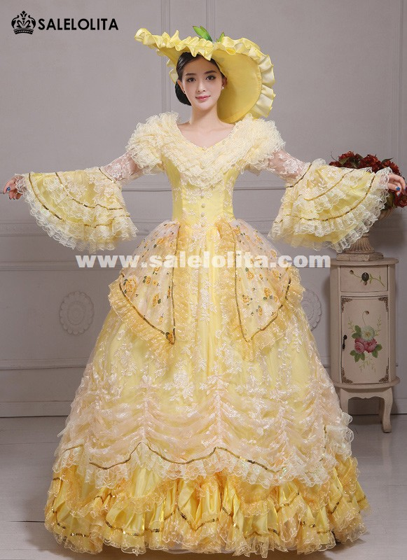 Elegant Yellow Floral Lace Southern Belle Marie Antoinette Ball Gowns