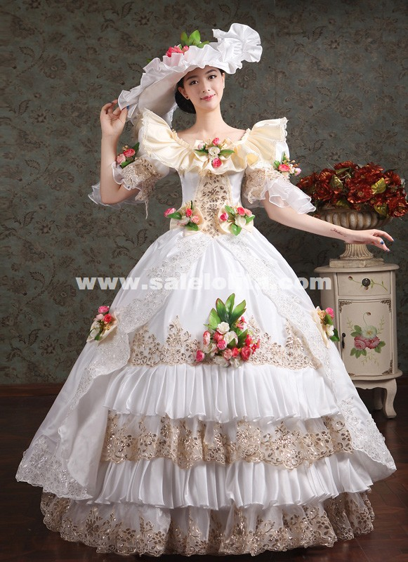 Noble White Lace Embroidery Marie Antoinette Wedding Dress Halloween Costume