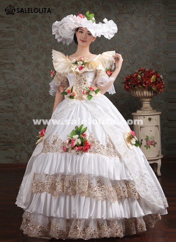 white lace embroidery marie antoinette wedding dress halloween costume