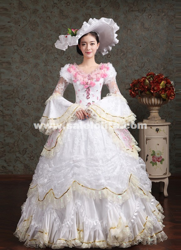 Elegant White Pink Flower Marie Antoinette Costume Wedding
