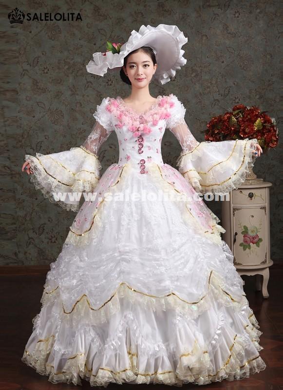 Elegant White Pink Flower Marie Antoinette Costume Wedding Party