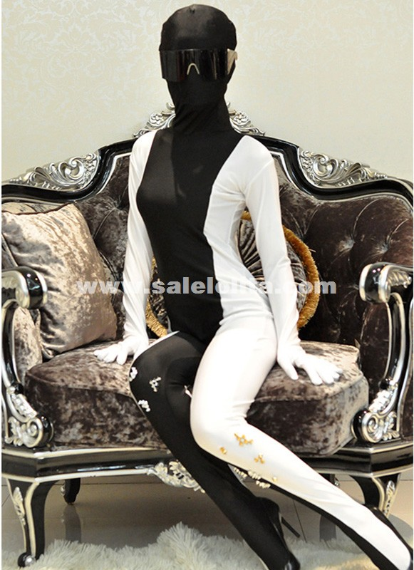 Black And White Full Body Catsuit Rivet Halloween Lycra Spandex Zentai Suit