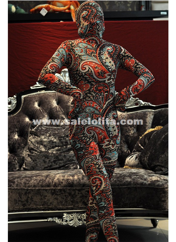 New Red Printed Lycra Spandex Full Body Catsuit Halloween Zentai Suit Costume