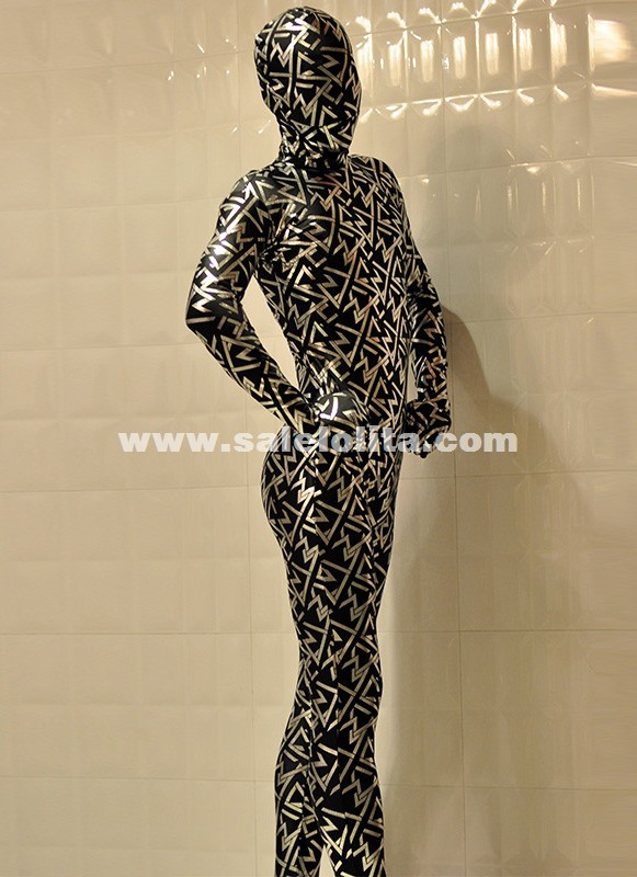 New Sliver Printed Shiny Metallic Full Body Zentai Suit Halloween Costumes