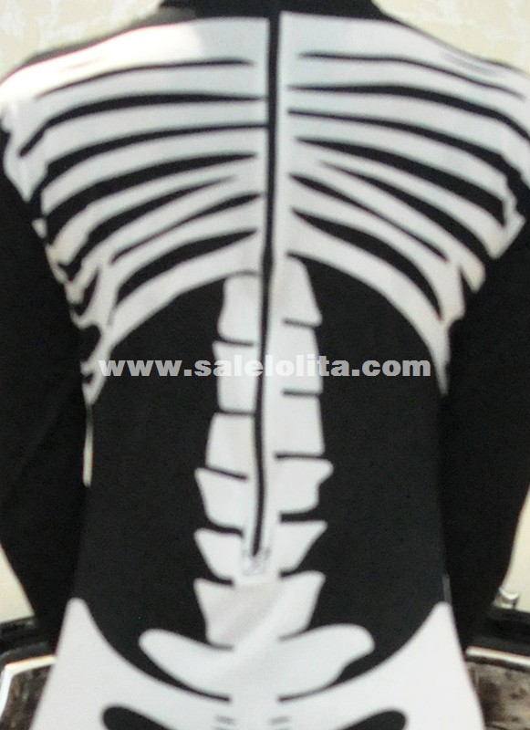 New Black And White Skull Spandex Lycra Zentai Suit Fullbody Catsuit Halloween Costumes