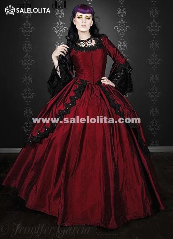 Brand New 19th Century Wine Red Marie Antoinette Renaissance Vampire Victorian Period Wedding Dress Satin Ball