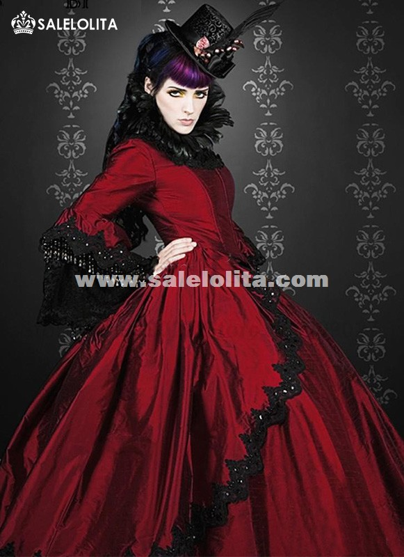 Brand New 19th Century Wine Red Marie Antoinette Renaissance Vampire Victorian Period Wedding Dress Satin Ball Gown Reenactment Theatre Halloween Costumes
