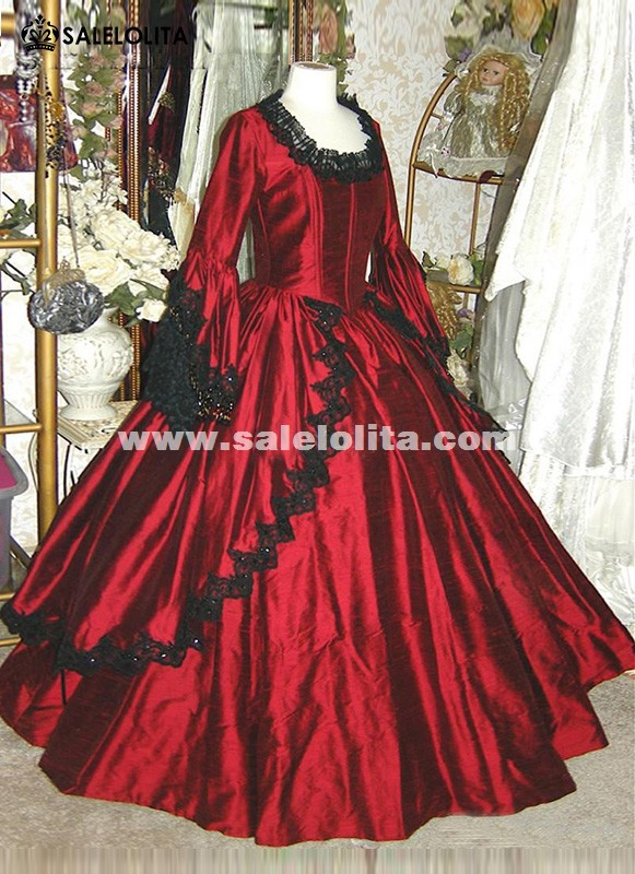 19th century wine red marie antoinette renaissance vampire for 19th century wedding dresses