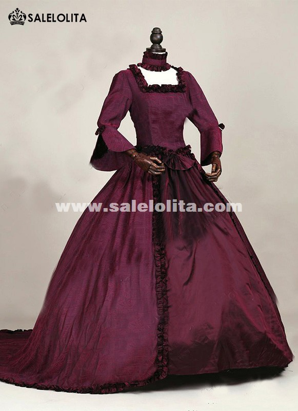 Brand New Renaissance Fair Queen Elizabeth Ball Gowns Dark Red Gothic Victorian Princess Dresses With Train Theatre Halloween Costumes
