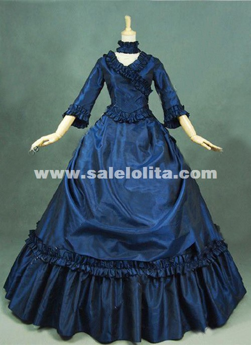 Brand New Dark Blue Gothic Victorian Dresses French Bustle