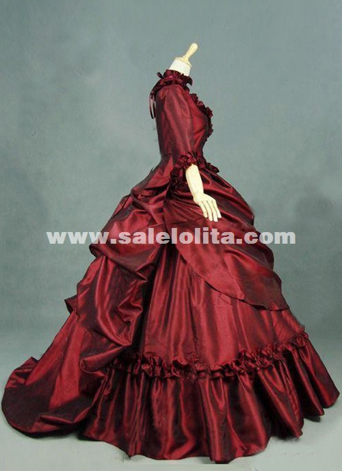 Brand New Red Gothic Victorian Dresses French Bustle