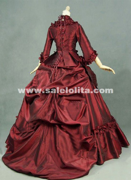 Brand New Red Gothic Victorian Dresses French Bustle Period Ball Gowns Reenactment Halloween Costumes