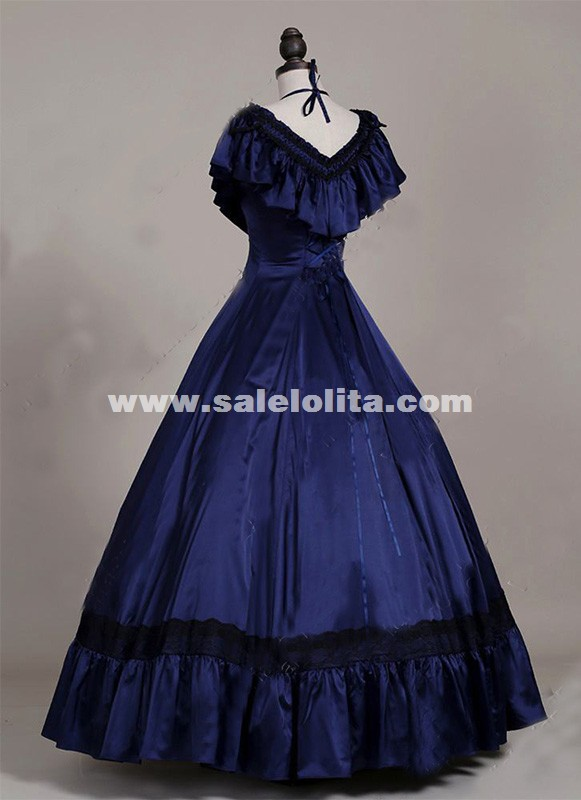 Brand New Blue Satins Victorian Edwardian Dresses Princess Titanic Tea Party Ball Gowns Halloween Costumes