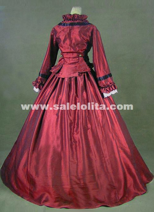 Newest Wine Red Gothic Victorian Dresses French Bustle Period Ball Gowns Reenactment Halloween Costumes