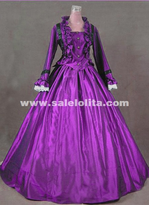 Newest Wine Red Gothic Victorian Dresses French Bustle Period Ball ...