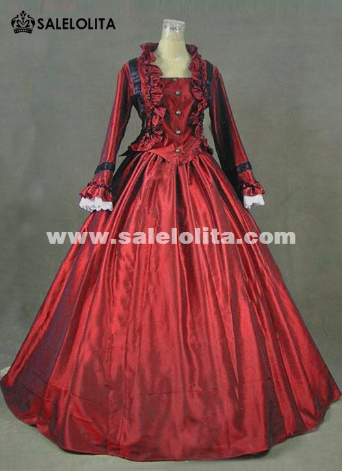 Newest Wine Red Gothic Victorian Dresses French Bustle