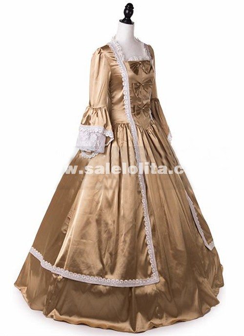 Brand New Champagne Marie Antoinette Princess Dresses Royal Queen Satin Belle Period Ball Gowns Reenactment Theater Halloween Costumes
