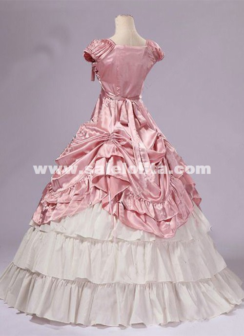 Brand New Pink Southern Belle Victorian Prom Princess Dresses Ball Gowns Reenactment Theatre Halloween Costumes
